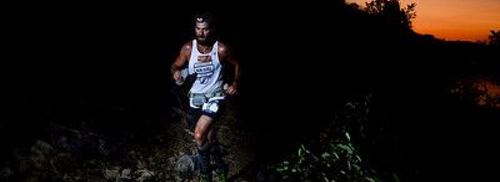Jeremy Morris, 100 mile winner, on the red trail during the early morning hours.