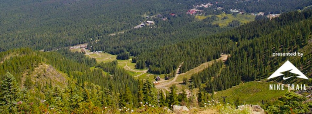 From here, at the top of Skibowl, you can see the trails you'll run down to the finish.